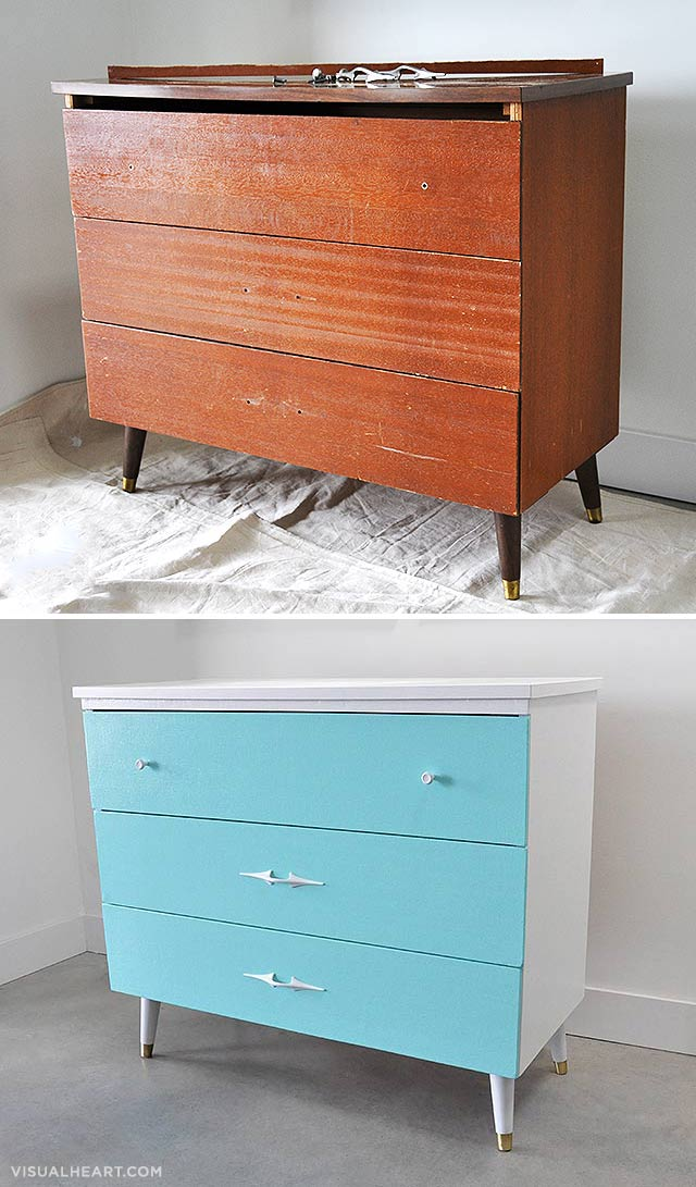 vintage dresser before and after by visualheart.com