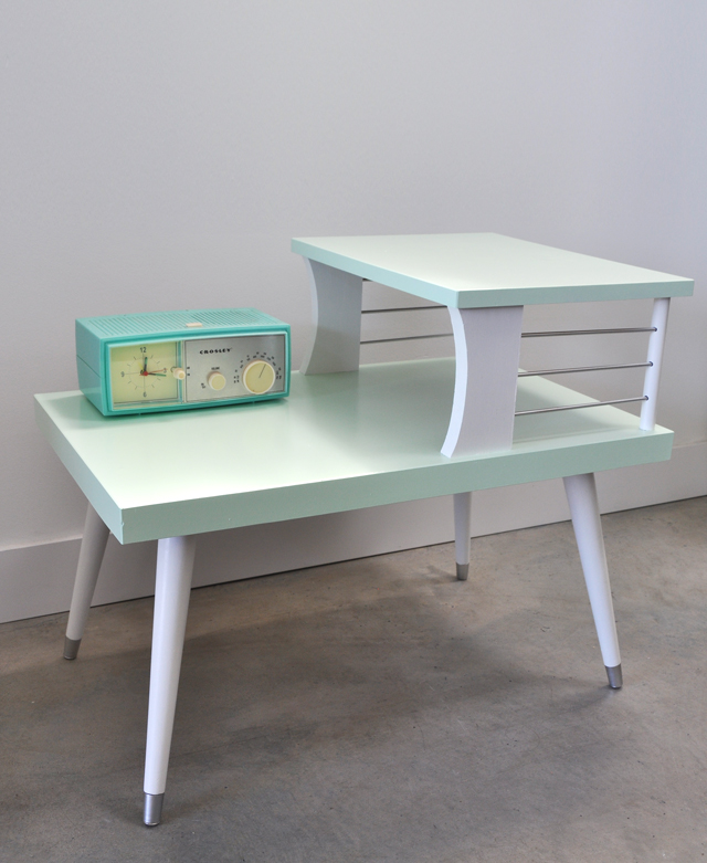Painted vintage telephone table before and after