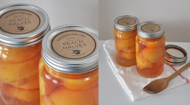 Canned peaches recipe with printable labels