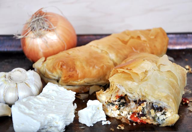 Roasted vegetable and feta cheese phyllo pastry