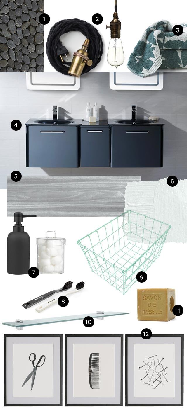Modern Bathroom Black and White with pastel green
