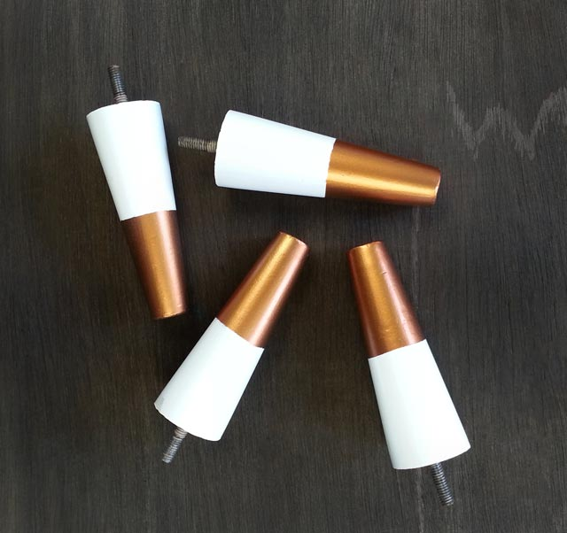 "White and Metallic Copper ""dipped"" furniture legs"