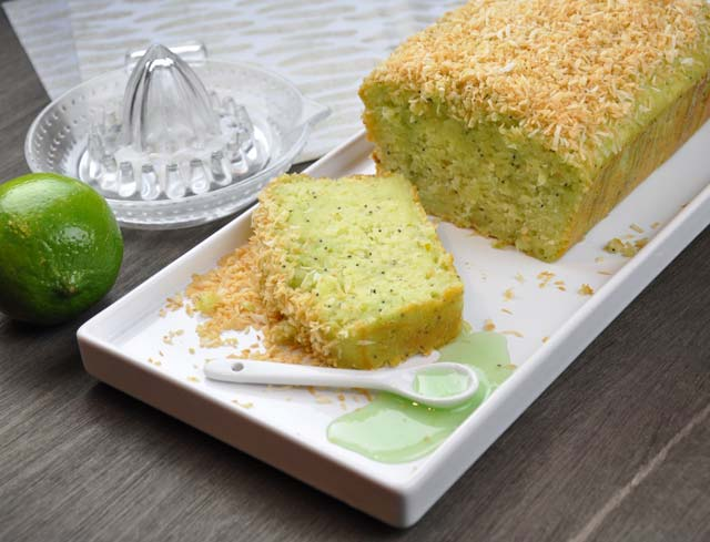 lime coconut poppyseed yogurt loaf