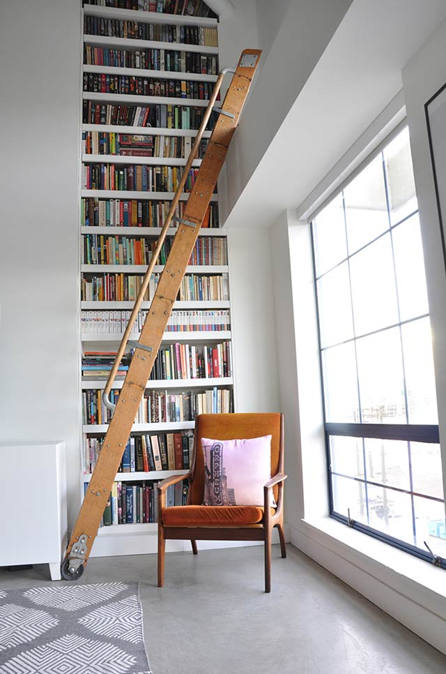 loft apartment library ladder