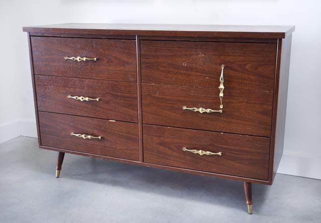 vintage veneer dresser before and after