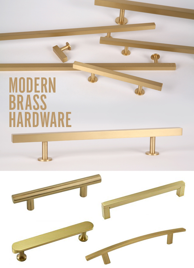 modern satin brass hardware pulls