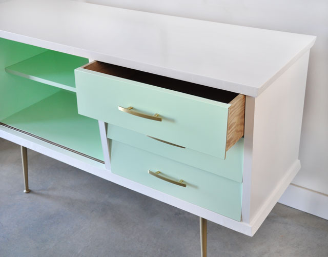 painted vintage mid century modern sideboard before and after