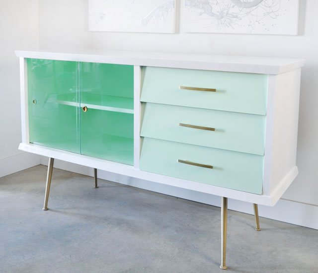 painted vintage sideboard before and after