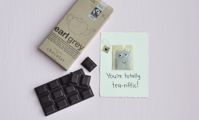 DIY Valentine card with earl grey chocolate