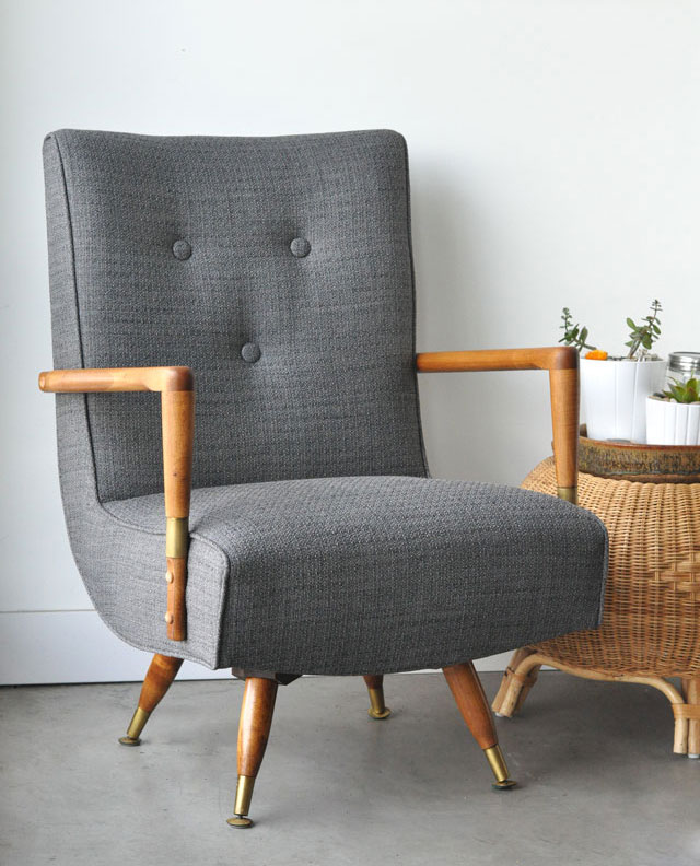 reupholstered mid-century chairs