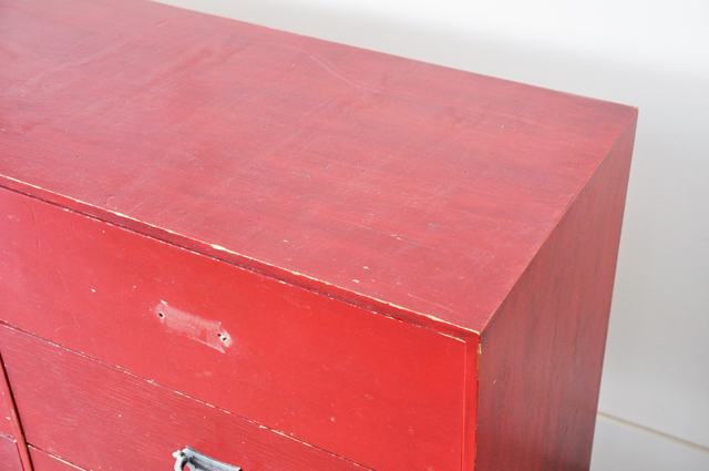 red painted dresser before and after