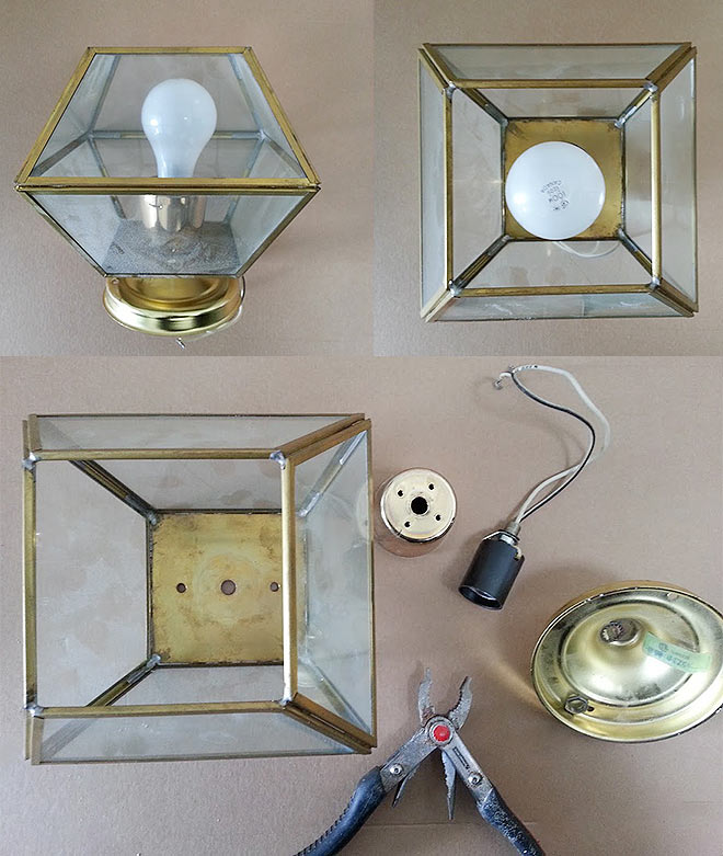 DIY terrarium using an old light fixture