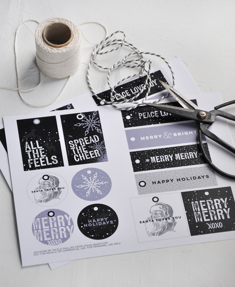 Free printable Christmas gift tags by visualheart.com