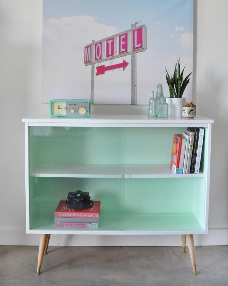 Vintage mid-century modern sideboard before and after
