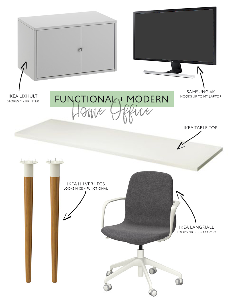 amazing modern functional home office on a budget with support snack ikea. Black Bedroom Furniture Sets. Home Design Ideas