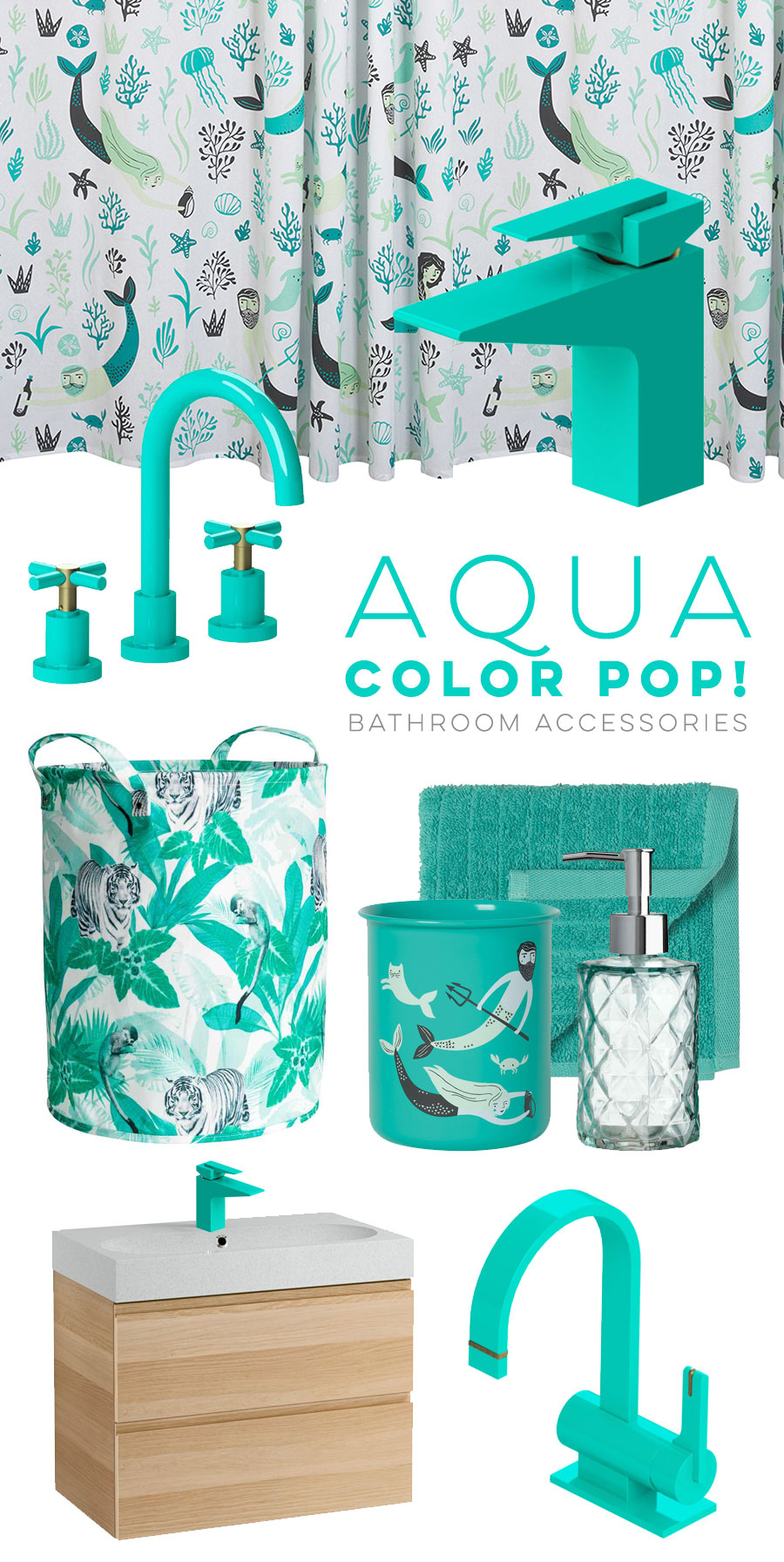 Aqua bathroom accessories visualheart creative studio for Aqua colored bathroom accessories