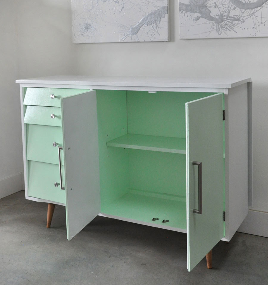 Painted Vintage Cabinet Table makeover