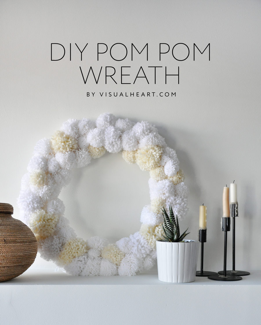 DIY Anthropologie inspired pom-pom wreath