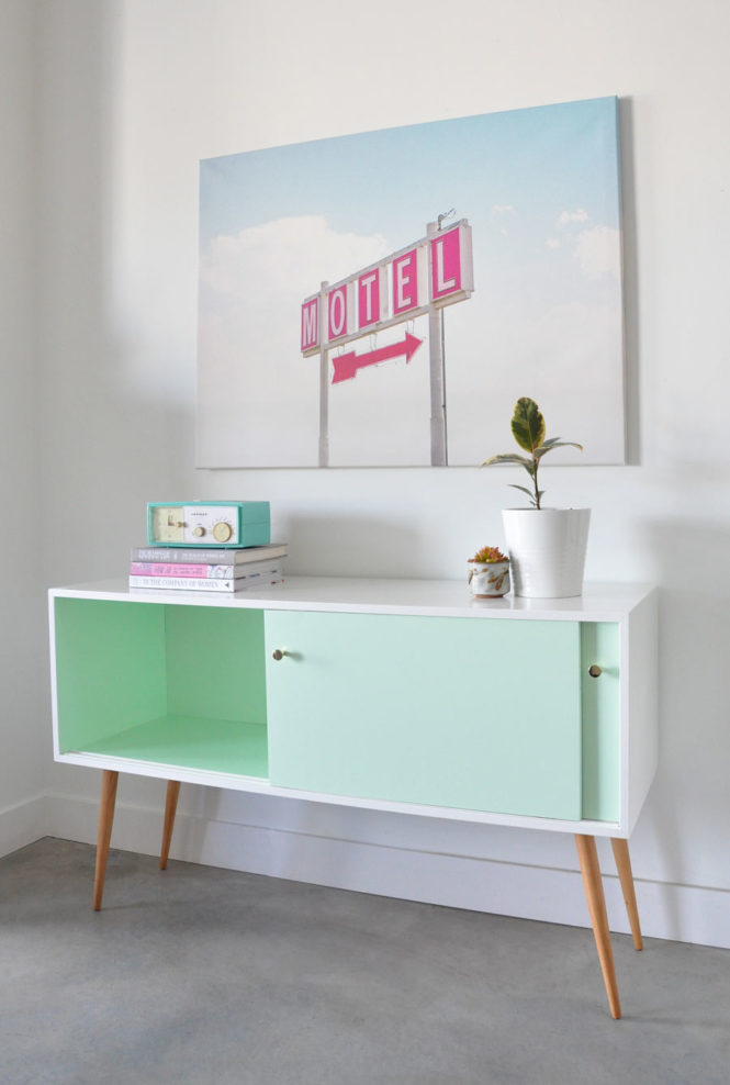 Vintage mid-century modern console before and after by @visualheart