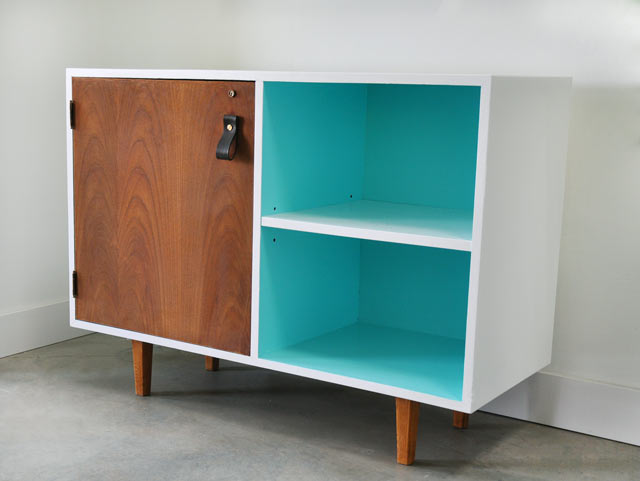 Mid Century Modern Cabinet With Handmade Leather Door Pull