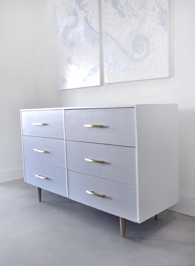 Before and After: Grey and Gold Vintage Painted Dresser
